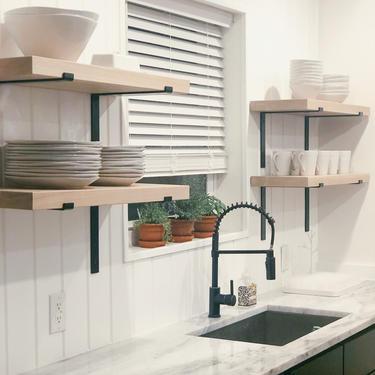 Modern Kitchen Shelves. Rustic Kitchen Shelves. Wood Wall Shelves. Shelves on Wall. Modern Wall Shelf. Wall Mounted Shelves. by abdobuilds