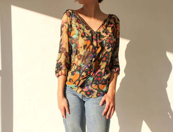 Vintage 90s 2000s Diane Von Furstenberg Sheer Floral Silk Ruffle Front Blouse w/ Billowy Pleated Sleeves | 100% Silk | 1990s Y2K DVF Top by TheVault1969