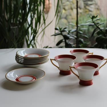 Art Deco Sweden Handmalat Hackefors Demitasse Porcelain cups and saucers, Orange/ gold rim, Mid century modern scandi Coffee / tea set by FancyHaus