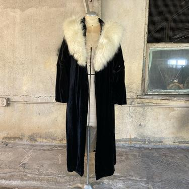 Vintage 1930s Black Silk Velvet Maxi Opera Coat White Fur Collar Bell Sleeves