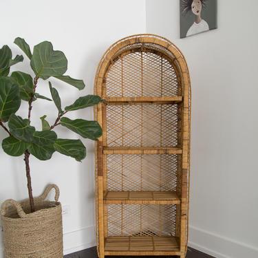 SHIPPING NOT FREE!!! Vintage Wicker Bookshelf with removable shelves/ Wicker Hutch/ Wicker Cabinet by WorldofWicker