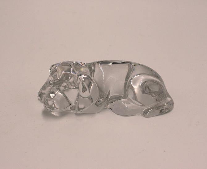 vintage sleeping clear glass dog by suesuegonzalas
