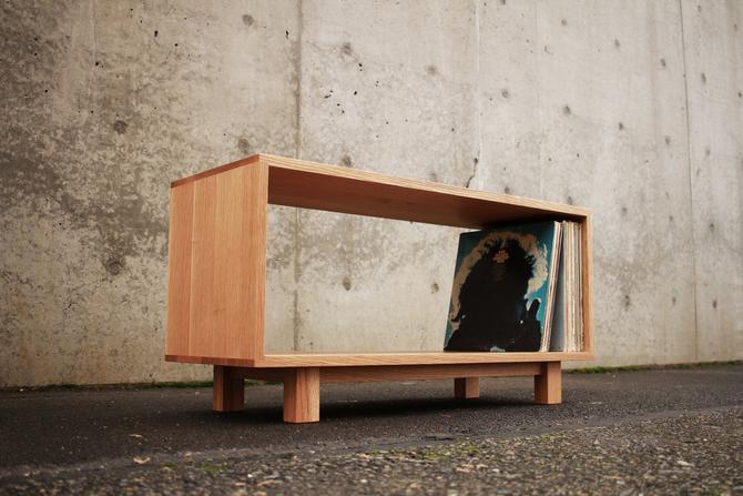 Pease Vinyl Storage Bench, Modern Storage Bench, Vinyl Cubby, Mid Century Vinyl Storage (Shown in White Oak) by TomfooleryWood