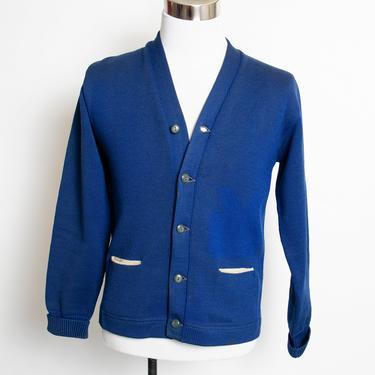 Vintage Varsity Sweater Blue Wool Knit Letterman Cardigan 1960s Medium by dejavintageboutique