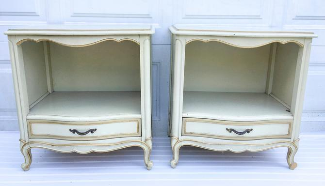 CUSTOMIZABLE French Provincial Pair Nightstands / End Tables, Drexel French  Chic bedroom set, vintage nightstands free nyc delivery by ...