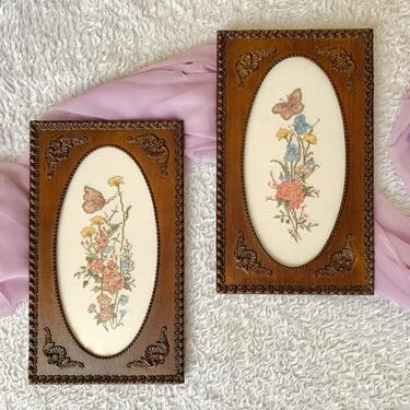 Hand Embroidered Wall Decor, Butterflies, Floral, Ornate Wood Frames, Set 2, Cross Stitch, Signed Dated 1988 Vintage by GabAboutVintage
