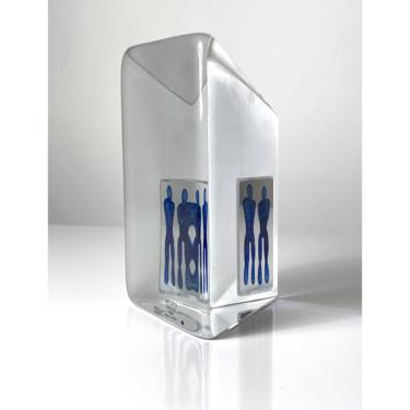 Vintage Bertil Vallian Kosta Boda Reflections Glass Sculpture 1990s by 20cModern