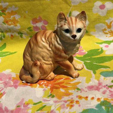Vintage Kitsch Cat Kitten Figurine, Napcoware Japan Ceramic Cat Sitting Orange Tabby Knick Knack, Napco C7303 by AMORVINTAGESHOP