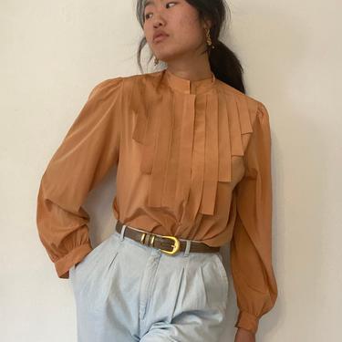 70s puff sleeve pleated blouse / vintage apricot polyester pleated bib puff sleeve prairie mandarin collar blouse | M by RecapVintageStudio
