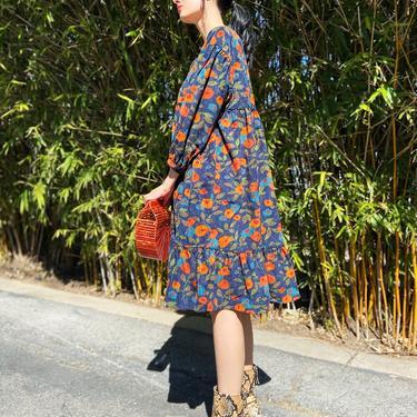 MEADOWS Navy, Orange, & Teal Floral Corduroy Ruffle Midi Dress