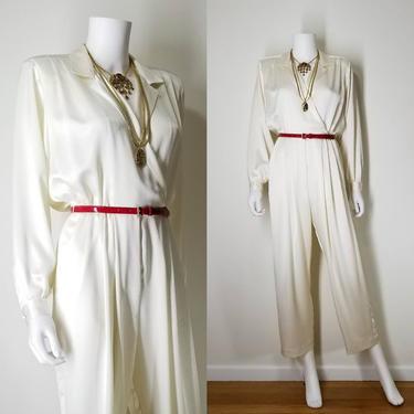 1990s Vintage Ivory Cocktail Jumpsuit Pantsuit ~ Medium ~ Shiny Long Sleeve Blouse ~ Wide Leg Jumper Jumpsuit Dressy One Piece Pantsuit by SoughtClothier