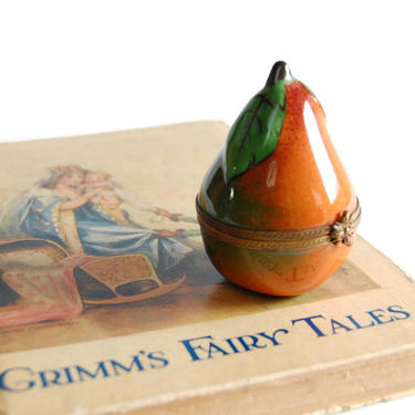 Dubarry Limoges Pear Trinket Box Vintage Handpainted Porcelain Hinged Box Made in France by Curiopolis