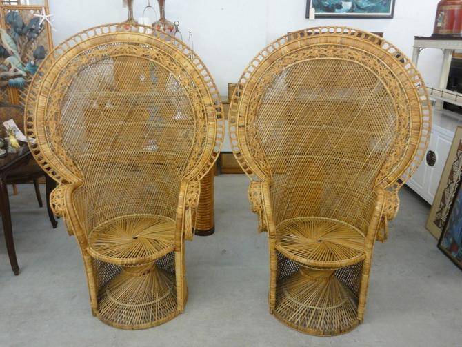 Pair of Island Style Rattan Fan Chairs