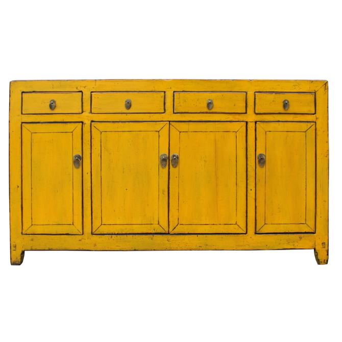 ChineseDistressed Rustic Yellow Sideboard Buffet Table Cabinet cs4900S
