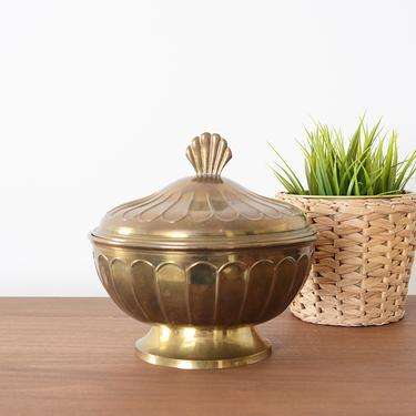 brass bowl with lid by fingerlickingvintage