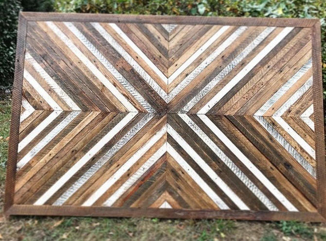 reclaimed lath, queen size headboard, wall art, lath wall art, lath wall hanging, reclaimed lath headboard by WoodbeeWoodworks