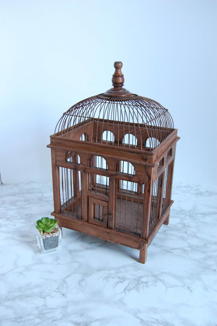 Vinatge Wire And Wood Bird Cage Birdcage Antique Birdcage Boho French Apartment Decor By Pursuingvintage1 From Pursuing Vintage Of Falls