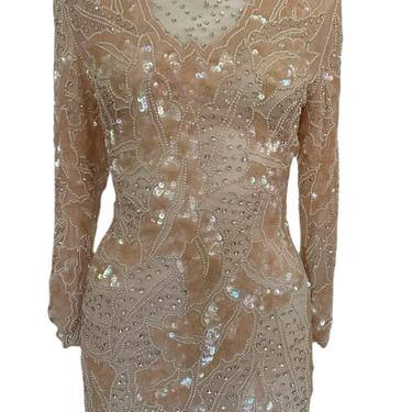 Embellished soft pink sequin beaded wedding dress, light pink sequin gown, mother of bride bridal party embellished dress gown size small s by RETROSPECTNYC