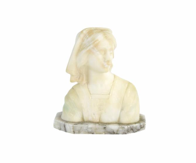Antique Carved Marble Bust Italian Woman in Head Scarf & Tunic by PrairielandArt