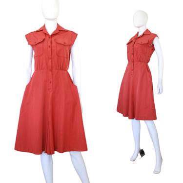 1970s Terra Cotta Red Dress - 1970s Red Dress - 1970s Sleeveless Dress - 1970s Red Day Dress - 1970s Fall Dress - 70s Dress | Size Small by VeraciousVintageCo