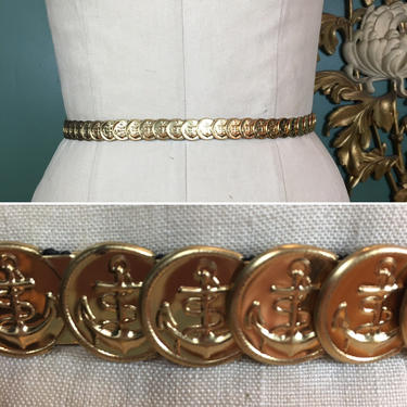 1980s coin belt, gold stretch belt, anchor belt, vintage belt, metallic belt, small medium, 1980s accessories, sailor, nautical, medallion by BlackLabelVintageWA