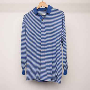 vintage 80s POLO blue and grey long men's RUGBY style LE Tigre shirt top -- men's size medium by CairoVintage