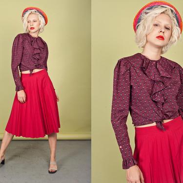 70s Dark Pink Pleat Skirt Vintage High Waisted Textured Circle Skirt by AppleBranchesVintage