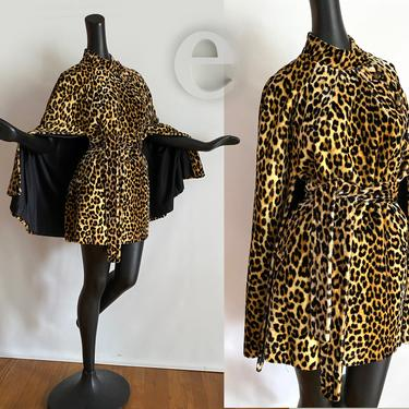 Ultimate Vintage 50s 60s Leopard Cape • Rare Belted with Pockets  Animal Print Thick Velvet style Faux Rur • Sexy Rockabilly Pin Up Couture by elliemayhems