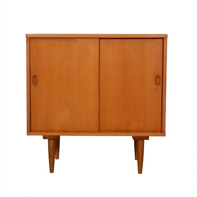 Compact Mid Century Sliding Door Media Cabinet / Bar