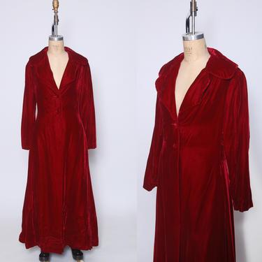 1930s cranberry velvet double breasted coat / velvet opera evening coat / glam statement coat / red velvet maxi coat / vintage velvet coat by ProspectVintageGoods