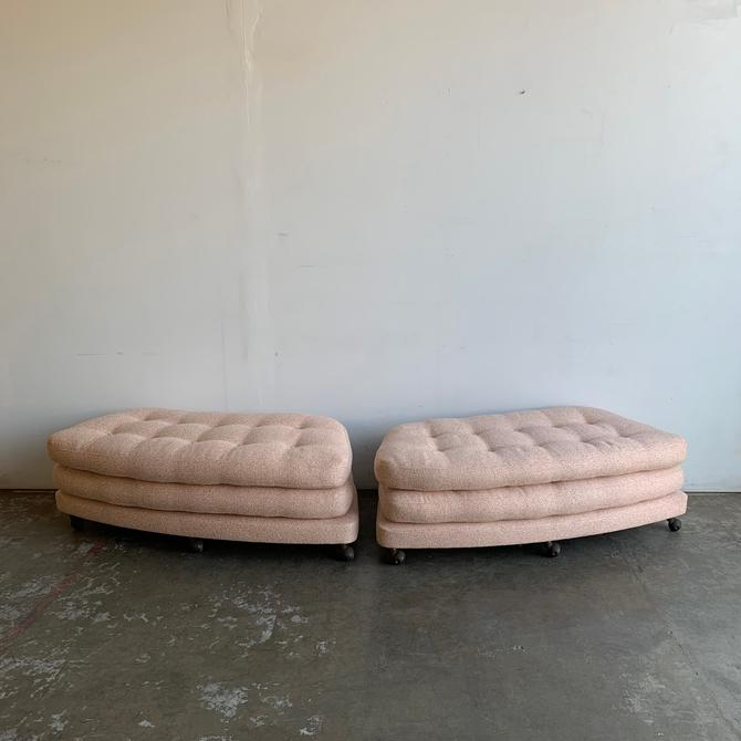 Mid day Century Blush Pink Benches by Adrian Pearsall by VintageOnPoint