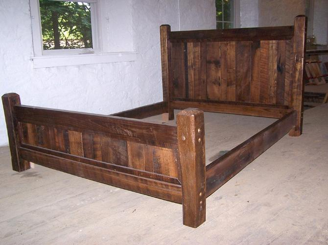 Country Cabin Rustic Bed Frame with Beveled Posts by BarnWoodFurniture