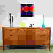 Fabulous Saga Walnut Brass MCM Credenza Dresser