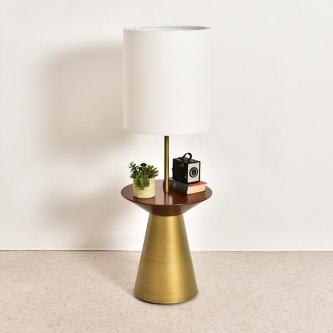 Modern Gold & Wood Floor Lamp & Side Table