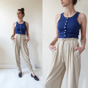 Vintage 80s Express Tricot Lounge Pants/ 1980s High Waisted Cotton Drawstring Sweats/ Size Medium by bottleofbread