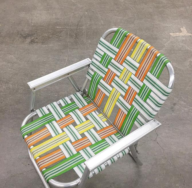 Vintage Lawn Chair Retro 1970s Silver Aluminum + Orange + Green + Yellow + Folding Chair + Beach Chair + Outdoor or Patio Furniture by RetrospectVintage215