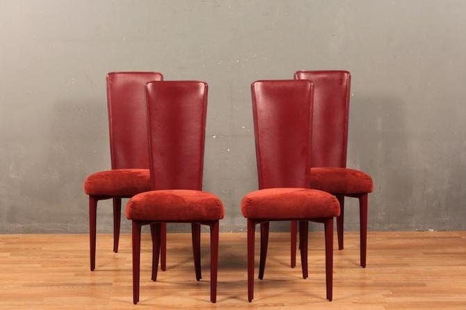 Set of 4 Cattelan Italia Red Faux Leather Dining Chairs
