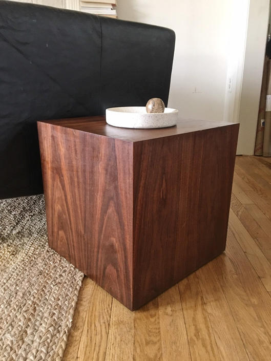 Milo Baughman Style Cube Table Mitered Wood Square Pedestal Vintage Furniture by CaribeCasualShop