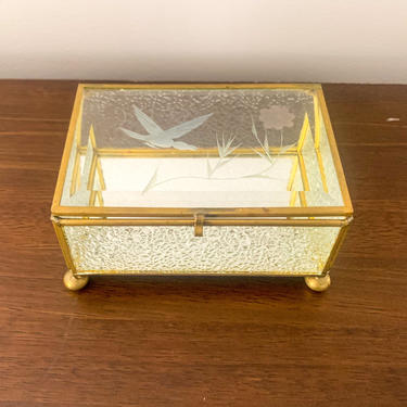 Vintage etched glass and brass box by FrankiesVintageTrunk
