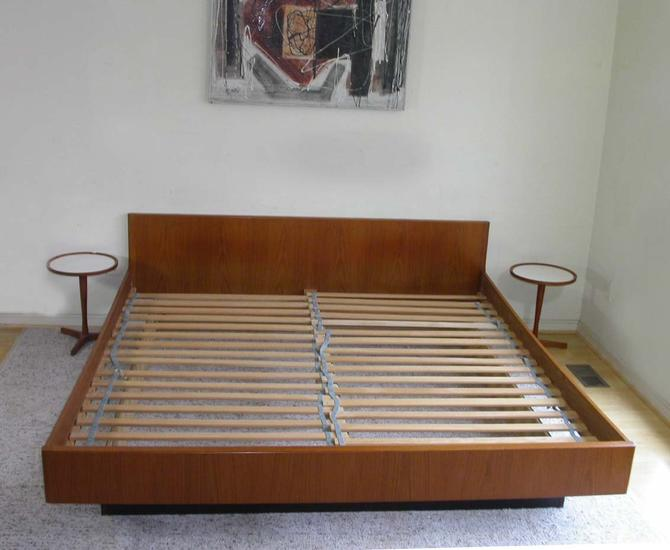King Size Danish Modern Teak Platform Bed with Black Base By W&B Mobler by RetroSquad