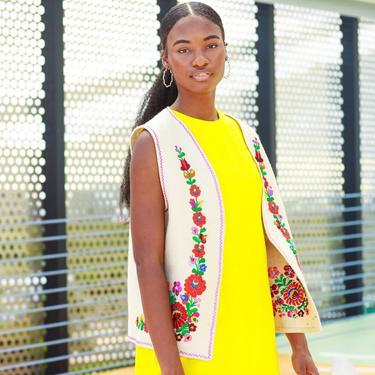 60s Beige Embroidered Floral Boho Vest Vintage Bohemian Colorful Vest by AppleBranchesVintage