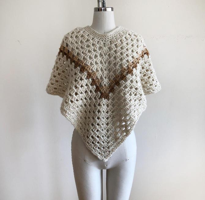 Beige/Tan Crochet Shawl/Poncho - 1970s by LogansClothing