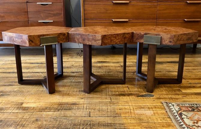set of 3 Vintage Hexagonal side Tables with Burl Top- Attr. to Milo Baughman