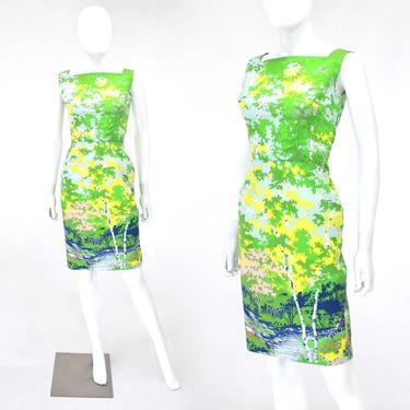 1960s Wiggle Dress - 1960s Novelty Print Dress - 1960s Border Print Dress  - 60s Nature Print Dress - Forest Border Print | Size Extra Small by VeraciousVintageCo
