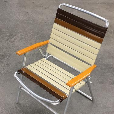 Vintage Lawn Chair Retro 1970s Mid Century Modern + Brown + Beige Vinyl Straps  + Sliver Aluminum Frame + Folds Up + Outdoor Seating + Patio by RetrospectVintage215
