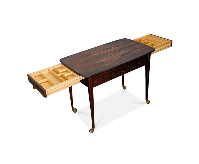 Vintage Danish Mid Century Rosewood Sewing Table - Rio Pali by LanobaDesign