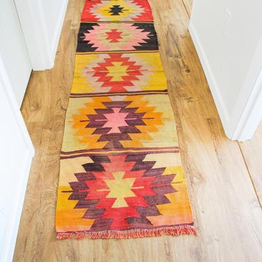 Vibrant Vintage Kilim Woven Wool Rug Runner by PortlandRevibe