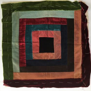 Vintage Velvet Piecework Pillow Cover, Bohemian, Victorian Parlor, Quilted Velvet Block, Boudoir by luckduck