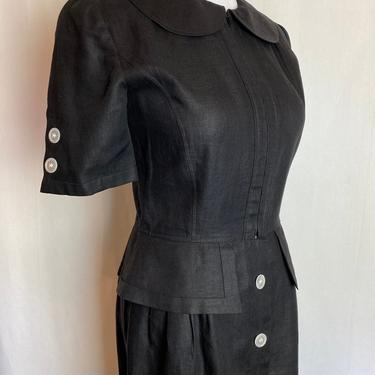 Vintage Miss V Valentino black linen dress~ short fitted shirt dress~ mint condition~ Peter Pan collar~ 1980's-90's~ Italy~ size 6 /euro 40 by HattiesVintagePDX