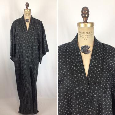 Vintage 50s Kimono | Vintage black silk cotton kimono | 1950s leaf Diamond print kimono robe by BeeandMason